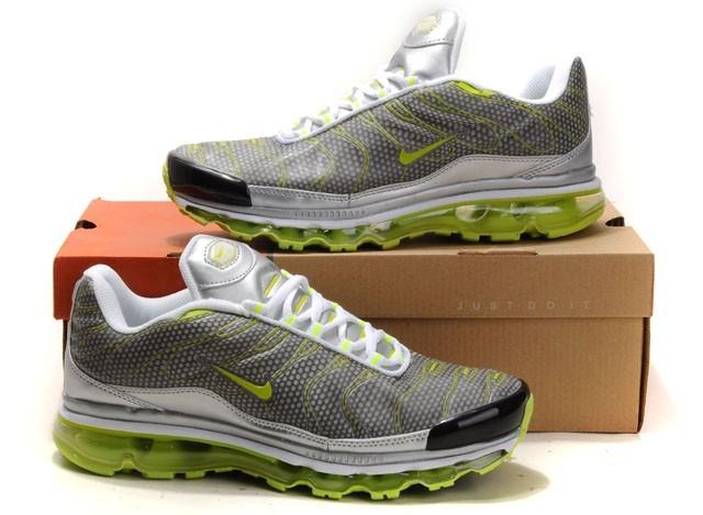 57ef110cb25 Hommes Gris Argent Vert Jaune Air Max TN 09 Nike Chaussures Running Fitness