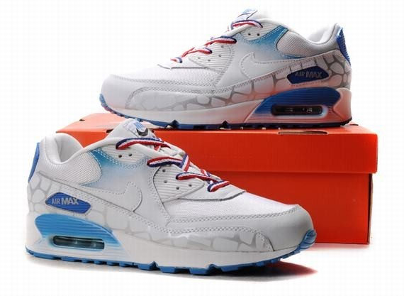 promo code e912c 23377 Bleu Blanc Rouge Hommes Air Max 90 Nike Chaussures Running Trainer Mode