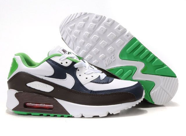 best service a6ed9 1dde3 Blanc Marron DarkBlue vert Nike Air Max 90 Chaussures Running Fitness Hommes  Mode,Nike Air Max 1 Air Max 2017 Pas Cher Soldes de France Pour Femme