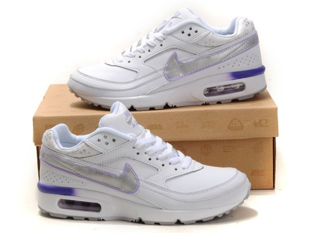 sports shoes new arrival the sale of shoes Blanc Violet Argent Femmes Air Max BW Chaussures Running Trainer ...